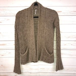Free People Cable Knit Open Sweater Cardigan Brown